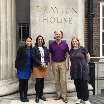 Dunli, Parama, Frank and Cloda in front of Drayton House