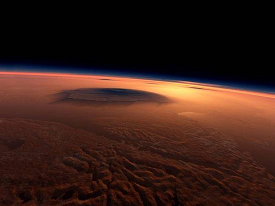 The 17 miles high Olympus Mons volcano on the surface of Mars